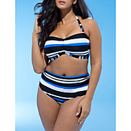 Women's Halter Neck Blue Cheeky Tankini Swimwear - Striped XXL XXXL XXXXL Blue / Super Sexy
