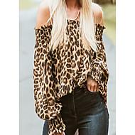 Mulheres Camiseta Moda de Rua Frufru / Estampado, Leopardo Ombro a Ombro / Primavera / Verão / Outono / Inverno