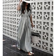 Mulheres Básico Algodão Solto balanço Vestido Decote V Longo