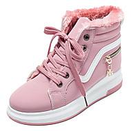女性用 PUレザー 冬 カジュアル スニーカー フラットヒール ラウンドトウ ブラック / ピンク