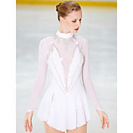 Robe de Patinage Artistique Femme Fille Patinage Robes Blanc Dos ouvert Spandex Haute élasticité Compétition Tenue de Patinage Fait à la main Patinage sur glace Patinage Artistique
