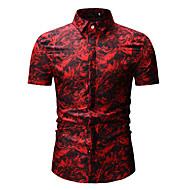 Homens Camisa Social - Bandagem Básico / Moda de Rua Estampado, Estampa Colorida Colarinho Clássico Azul XL / Manga Curta