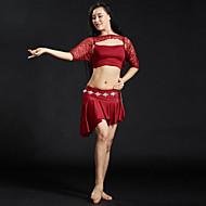billiga Danskläder och dansskor-Magdans Outfits Dam Träning / Prestanda Polyester Veckad Kortärmad Naturlig Kjolar / Topp
