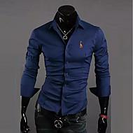 남성용 솔리드 / 동물 클래식 카라 슬림 자수 장식 - 셔츠, 사업 / 베이직 작동 면 네이비 블루 XL / 긴 소매 / 가을