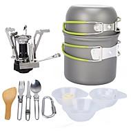 ARDI® Camping Cookware Mess Kit Camping Pot Dinnerware Set Pot Rack & Accessories Utensils Lightweight for 1 - 2 person Stainless steel Aluminium Alloy Outdoor Hiking Camping Green
