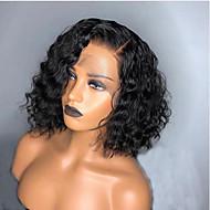 Φυσικά μαλλιά Δαντέλα Μπροστά Περούκα Κούρεμα καρέ Σύντομο βαρίδι Rihanna στυλ Βραζιλιάνικη Σγουρά Κυματιστό Μαύρο Περούκα 130% Πυκνότητα μαλλιών / Φυσική γραμμή των μαλλιών / 100% δεμένη στο χέρι