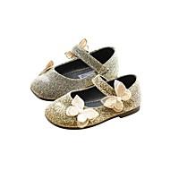 Genç Kız Ayakkabı Suni Deri İlkbahar & Kış Balerin / Çiçekçi Kız Ayakkabıları Düz Ayakkabılar için Toddler Altın / Siyah / Gümüş
