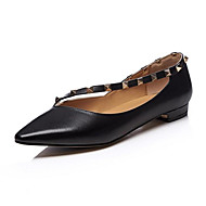cheap Women's Flats-Women's Nappa Leather Spring Sweet / Minimalism Flats Flat Heel Pointed Toe Bowknot / Sequin Black / Beige