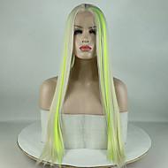 Synthetische Lace Front Perücken Glatt Grün Mittelteil Grün 180% Human Hair Dichte Synthetische Haare 18-26 Zoll Damen Verstellbar / Spitze / Hitze Resistent Grün Perücke Lang Spitzenfront