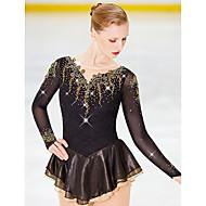 Figure Skating Dress สำหรับผู้หญิง / เด็กผู้หญิง สเก็ตน้ำแข็ง ชุดเดรสต่างๆ แบล็ค ดอกไม้ สแปนเด็กซ์, Elastane ความยืดหยุ่นสูง Competition Skating Wear ทำด้วยมือ ที่ประดับด้วยเพชรพลอย / พลอยเทียม แขนยาว