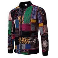Heren Dagelijks Standaard Herfst Normaal Jack, Kleurenblok Opstaand Lange mouw Polyester Regenboog L / XL / XXL