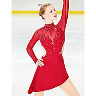 Vestidos para Patinação Artística Mulheres Para Meninas Patinação no Gelo Saias Vestidos Vinho Elastano Fio Elástico Com Stretch Elasticidade Alta Profissional Competição Roupa para Patinação Strass