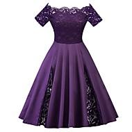cheap -Women's Plus Size Party Vintage 1950s A Line Dress - Solid Colored Lace Off Shoulder Spring Purple Wine Royal Blue XXXL XXXXL XXXXXL / Sexy