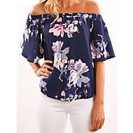 T-shirt Per donna Moda città / Esagerato Con stampe, Fantasia geometrica Senza spalline - Cotone Blu XL / Sexy