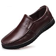 Hombre Zapatos Confort Cuero Primavera & Otoño Zapatos de taco bajo y Slip-On Negro / Marrón Claro / Morrón Oscuro