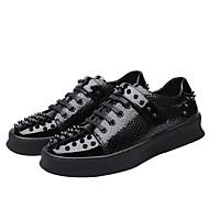 رجالي أحذية الراحة جلد محفوظ خريف & شتاء أحذية رياضية أسود / فضي / الأماكن المفتوحة