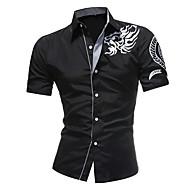 Heren Overhemd Geometrisch Slank Wit XXL / Korte mouw