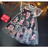 Дети Девочки Классический Цветочный принт Без рукавов Платье Темно синий