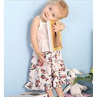 Vauva Tyttöjen Vapaa-aika Päivittäin Kukka Painettu Hihaton Normaali Polyesteri / Vasikannahka Vaatesetti Valkoinen