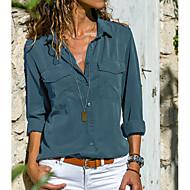 Women's Basic Plus Size Shirt - Solid Colored Shirt Collar Gray XXXL
