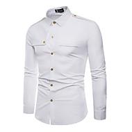 Koszula Męskie Bawełna Solidne kolory Czarny L / Długi rękaw