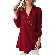 Жен. Рубашка V-образный вырез Однотонный Белый L