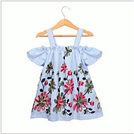 Niños / Bebé Chica Dulce / Estilo lindo Geométrico Manga Corta Vestido Azul claro