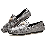 Men's Moccasin Cowhide Spring &  Fall Loafers & Slip-Ons Black / Silver