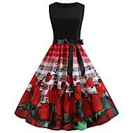 Per donna Moda città Elegante Swing Vestito - Con stampe, Monocolore Al ginocchio