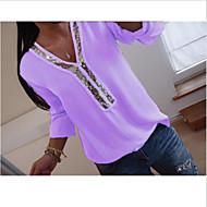 Pentru femei În V - Mărime Plus Size Tricou Mată Fucsia XXXL / Larg