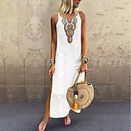 رخيصةأون -فستان نسائي كلاسيكي عصري بوهو أنيق منفصل بقع طويل للأرض لون سادة ترايبال