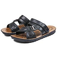 Муж. Комфортная обувь Наппа Leather Лето На каждый день Сандалии Для прогулок Дышащий Черный / Коричневый
