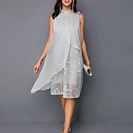 מידי שיפון רקום קשירה מאחור שמלה ישרה אלגנטית בגדי ריקוד נשים / חגים / ליציאה / משוחרר