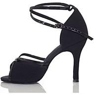 Damen Schuhe für den lateinamerikanischen Tanz Satin Absätze Farbaufsatz Schlanke High Heel Maßfertigung Tanzschuhe Schwarz / Braun