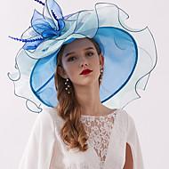 Organza / Fjädrar Kentucky Derby Hat / fascinators / Huvudbonad med Fjäder / Blomma / Lager 1 st. Bröllop / Utomhus Hårbonad