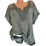 저렴한 -여성용 솔리드 V 넥 플러스 사이즈 레이스 - 티셔츠 블랙 XXXL