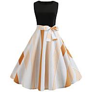 Pentru femei Șic Stradă Elegant Swing Rochie - Funde Cu Șiret, Geometric Lungime Genunchi