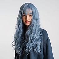 Synthetische Perücken Große Wellen Stil Mit Pony Kappenlos Perücke Blau Violett / Blau Schwarz / Saphir Blau Synthetische Haare 24 Zoll Damen Elasthan / Synthetik / Einfaches An- und Ausziehen Blau