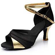 baratos -Mulheres Cetim Sapatos de Dança Latina Recortes Salto Salto Carretel Personalizável Preto e Dourado / Preto e Prateado / Preto / Vermelho / Espetáculo / Couro