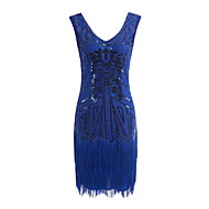 Nagy Gatsby Vintage 1920-as Jelmez Női Jelmez Bulikra Álarcosbál Flapper ruha Kék / Fekete+Arany / Fekete+Ezüst Régies (Vintage) Cosplay Flitter Parti Diákbál Ujjatlan