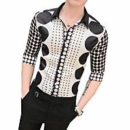 Koszula Męskie Kołnierzyk klasyczny Szczupła - Geometric Shape Czarny XL