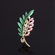 Women's Brooches Leaf Romantic Cute Brooch Jewelry Pink and Green Blue / Green Green / Red For Wedding Festival