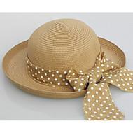Жен. Винтаж Соломенная шляпа Солома,Однотонный Белый Бежевый Хаки