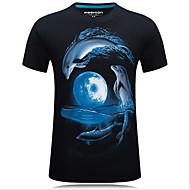 Herrn Tier Baumwolle T-shirt, Rundhalsausschnitt Druck Schwarz XXXXL