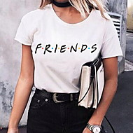 Damen Buchstabe T-shirt Weiß XXL