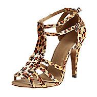 Femme Chaussures Latines Satin Sandale / Talon Mince haut talon Personnalisables Chaussures de danse Noir / violet foncé / Léopard