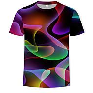 זול -גיאומטרי / 3D צווארון עגול בסיסי / סגנון רחוב טישרט - בגדי ריקוד גברים דפוס קשת XXXXL / שרוולים קצרים / קיץ