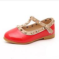 Genç Kız Ayakkabı PU Bahar T- Şeritli / Rahat Düz Ayakkabılar Zımbalı için Bebek (9 milyon 4ys) Siyah / Kırmzı / Pembe