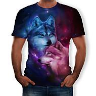 T-skjorte Herre - Fargeblokk / 3D / Dyr, Trykt mønster