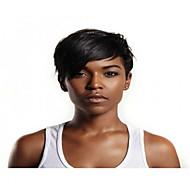 Szintetikus parókák Egyenes Stílus Bretonnal Sapka nélküli Paróka Fekete Jet Black Szintetikus haj 8 hüvelyk Női Egyszerű / szintetikus / Legjobb minőség Fekete Paróka Rövid BLONDE UNICORN